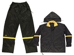 Black Nylon 3 Piece Rain Suit